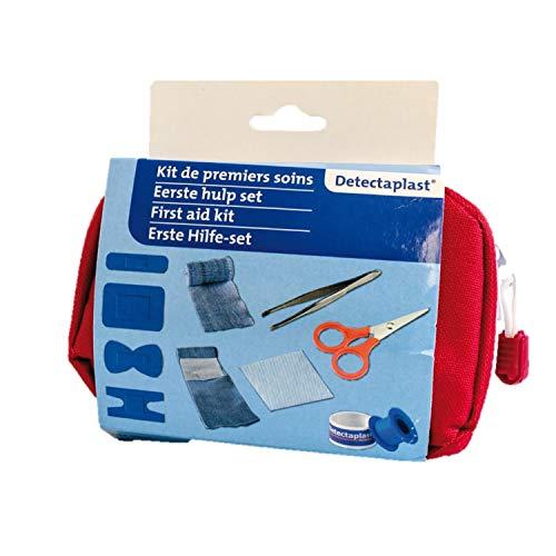 Detectaplast botiquín de primeros auxilios de casa, para el tratamiento de heridas, botiquín portátil en bolsa pequeña con esparadrapo, vendaje, esparadrapo, pinzas y tijeras, 28 piezas