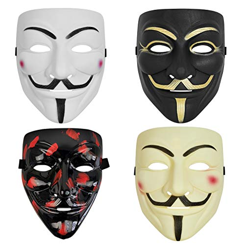 4 Pack V for Vendetta Hacker mask for Halloween Costume Cosplay Party Masks