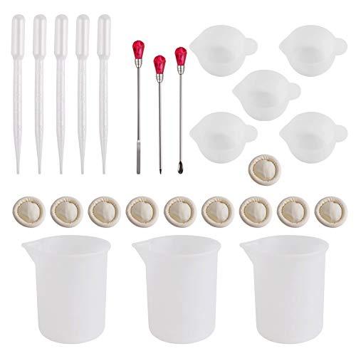 Keyzone - Vaso medidor de plástico con Herramientas, 5 Unidades, 100 ml, Molde de Molde, Molde de Resina, Joyas, de Silicona, Herramienta de fabricación Compatible con la Forma de Silicona, Jo
