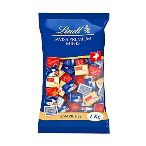 Lindt Napolitains Mini Schokoladentafeln | 1 KG im Beutel | Milchschokolade, Weiße Schokolade und Schokolade mit Nuss | Ideale Schokoladen Großpackung für Adventskalender 2021