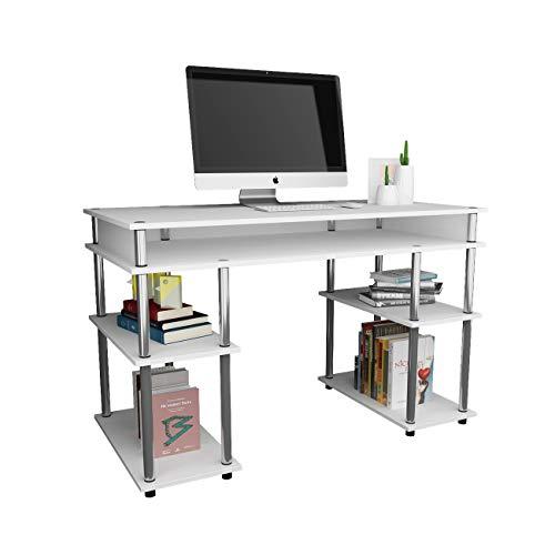DlandHome Schreibtisch mit Ablagen Einfache Computertisch Bürotisch 120 * 60 cm Arbeitstisch PC Laptop Tisch Leicht zusammenzubauen für Zuhause/Büro,Weiß
