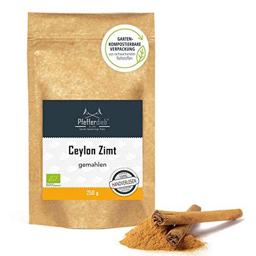 Ceylon Zimt BIO, gemahlen, Rohkostqualität | 100% echtes Zimt direkt und erntefrisch aus Sri Lanka, Pulver 250g - Pfefferdieb®
