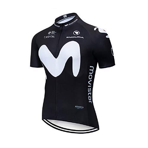 SUHINFE Herren Radtrikot Kurzarm, Atmungsaktiv Schnell Trocken Radfahren Kleidung mit Bib Shorts für MTB, Rennrad, M-BLK, XL