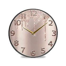 Rose Gold Glitter Pattern Wall Clocks, 9.5 Inch Acrylic Clock Silent Clocks Desk Clock Wall Clocks for Living Room Decor