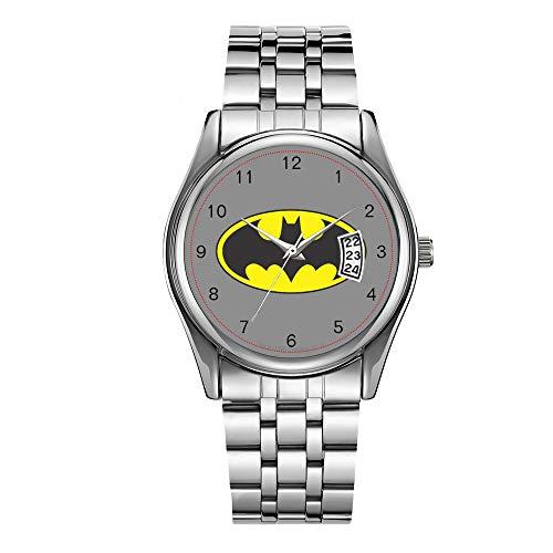 Montre de luxe pour homme étanche à 30 m avec date et horloge pour homme - Montre à quartz décontractée avec logo Batman et chauve-souris ovale