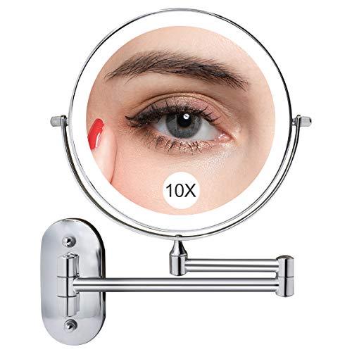 Espejo Maquillaje con Luz LED Aumento 1X/10X, 8 Inch Espejo de Tocador Iluminado de Pared con 3 Luces de Color, Regulable a Doble Cara, Pantalla Táctil de 360 Grados, Espejo de Afeitar para Baño
