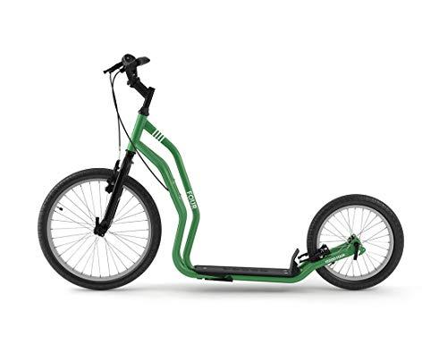 Yedoo Four Tretroller - bis 150 kg, Kickscooter mit Luftreifen 20/16 - Dogscooter für Erwachsene, Cityroller mit Ständer und verstellbaren Lenker, grün