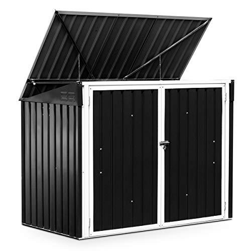 DREAMADE Gartenhaus Metall Gartenbox Mülltonnenbox, wasserdichte und UV-beständige Gerätehaus, abschließbare Gerätebox mit Zwei Türen, Gartenschrank für Mülleimer, Werkzeuge und Gartenzubehör