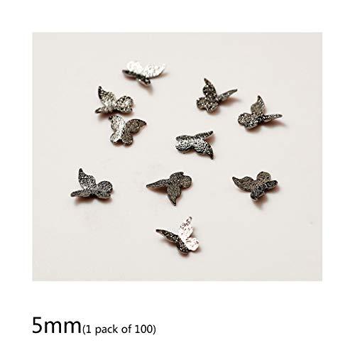 JIACUO 100Pcs / Pack Alloy Butterfly 3D Nagelaufkleber Nägel Pailletten Kunstschmuck DIY Dekor