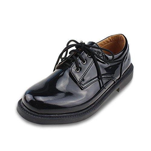ボイーズシューズ フォーマルシューズ 男の子 履きやすい 革靴 ブラック 24.7CM [8284]