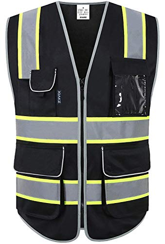 XIAKE 8 Pockets High Visibility Safety Vest Black with 2 Inch Dual Tone Reflective Strips - Yellow Trim, Zipper Front, ANSI/ISEA Standards, Large