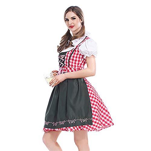 Lxmhz Oktoberfest traditionele jurk Oktoberfest Kostuum Dirndl Nationale Stijl Kostuum Fancy Midi Jurk voor Party Cocktail Jurk voor Vrouwen