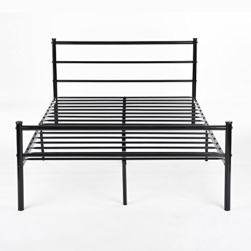 H.J WeDoo 4FT 6 Metal Bed Frames Double Bed Designer Kids Teens Adults' Bedroom fit 135 * 190 cm Mattress - Black