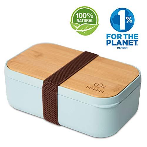 UMAMI® EcoloChic Lunchbox Inclusief Bestek, Japanse Luchtdichte Bentobox, Zero Waste, Geschikt voor Magnetron & Vaatwasser, BPA-Vrij, 5 jaar garantie, Europees merk