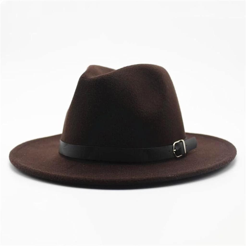YYOBK Mz European American Style Round Hat Bowler Hat, Wool-Like Ladies Men's and Women's Fedora Top Jazz Hats (Color : Dark Brown, Size : Size55 58cm)