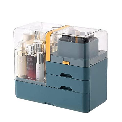 Caja de almacenamiento de cosméticos grande, organizador de maquillaje, soporte para exhibición transparente, cepillo para lápiz labial, cajón, bandeja, perfumes, cuidado de la piel, tocador, coc