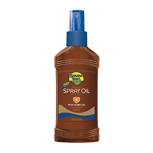 Banana Boat Sunscreen Deep Tanning Oil Broad Spectrum Sun Care Sunscreen Spray - SPF 8, 8 Ounce (Pack of 3)