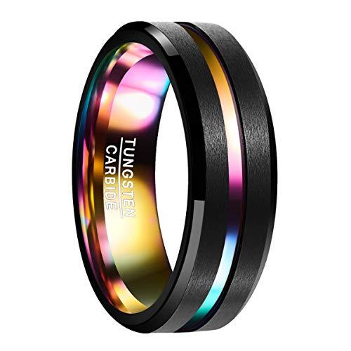 Natur Fashion - Wolfram Ring Schwarz Vielfarbend Regenbogenfarben 7mm mit Rille Blau für Herren Damen Paare Versprechen Verlobungsring Partnerring Geschenk & Alltag Größe 63 (20.1)