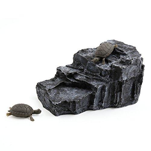 uxcell Dark Gray Aquarium Rock Shaped Resin Basking Ramp Tortoise Climb Stone Habitat Decor