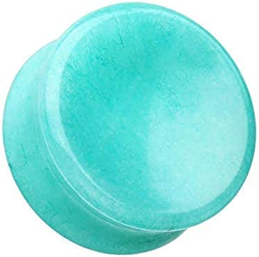 Covet Jewelry Concave Amazonite Natural Stone Double Flared Ear Gauge Plug 00 GA 10mm product image