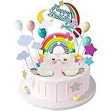 iZoeL Licorne Gateau Décorations de gâteau d'anniversaire Arc-en-ciel Happy Birthday bannière Ballons Nuages pour enfants Filles fête d'anniversaire baby shower