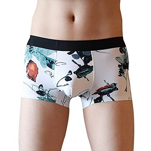 Lankfun sous-vêtements imprimés en Soie glacée pour Hommes sans Trace, Jeune Culotte Sexy Taille Basse à Quatre Coins-Araignée Marron Rouge_2XL #