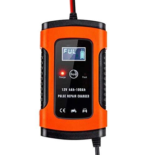 Cargador de batería de automóvil Cargador de batería de automóvil de 12 V Carga Mantiene y reacondiciona Las baterías de automóvil y Motocicleta (Naranja)