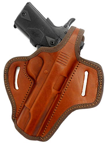 """Cebeci Arms Brown Leather OWB Right Hand Thumb Break Belt Holster for COLT Kimber Ruger Taurus Springfield Browning Remington CZ 5"""" 1911 with or Without Rails."""