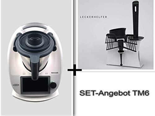 SET-ANGEBOT Gleitbrett+Zubehör-Halter für Thermomix® TM6 Weiß