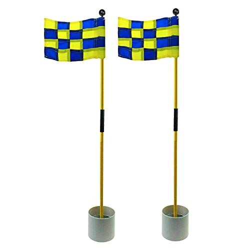 Crestgolf 2-Section Portable Backyard Practice Golf Hole Cup and Flag Stick of Fiberglass, Golf Putting Green Flagstick 2 Sets Count (Blue-Yellow Checkered)