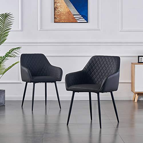 2X Sessel Wohnzimmerstuhl Esszimmerstuhl aus PU Farbauswahl Retro Design Armlehnstuhl Stuhl mit Rückenlehne Sessel Metallbeine Schwarz (Gray PU, 2)