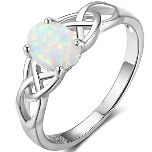 Platinum Plated Celtic Knot Oval Shaped Created Fire Opal Wedding Engagement Anniversary Ring (8)