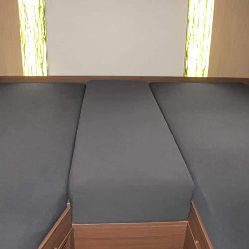 Fiducia Spannbettlaken 3er-Set für Wohnmobil oder Wohnwagen - Heckbett - Single-Jersey - Platin - Größe 70x190 cm - 85x210 cm (2X) + 35x130-50x145 (grau)