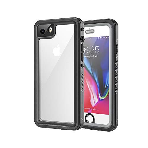 Lanhiem für iPhone 7 Hülle, iPhone 8 Hülle, 360 Grad Handyhülle IP68 Wasserdicht, Stoßfest Staubdicht Outdoor Schutzhülle mit Eingebautem Displayschutz für iPhone SE 2020, Schwarz+Grau