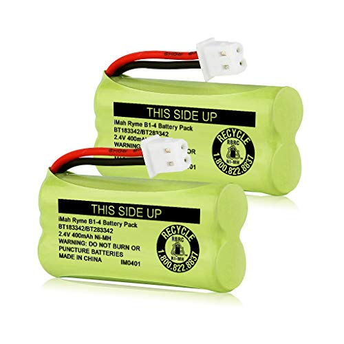 iMah BT183342/BT283342 2.4V 400mAh Ni-MH Battery Pack, Also Compatible with AT&T VTech Cordless Phone Batteries BT166342/BT266342 BT162342/BT262342 2SN-AAA40H-S-X2, Pack of 2
