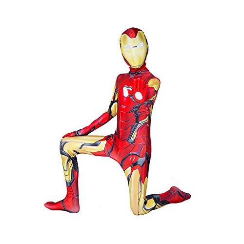 GYMAN Jungen Superhelden Iron Man Kostüme Unisex Kinder Erwachsene 3D-Druck Ganzkörper Cosplay Anzug Jumpsuit Bodysuit für Halloween Karneval Kostüm (140~150cm)