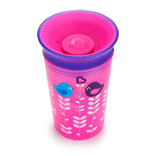 Munchkin Miracle 360ᵒ Deko-Trinklernbecher mit Griffen, rosa/violett mit Vogelmotiv, 177 ml
