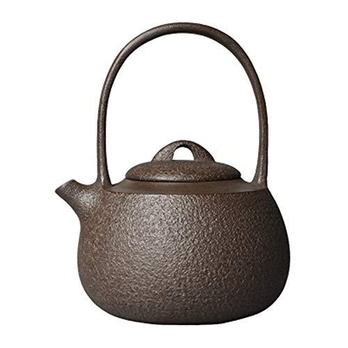 Teekanne aus Gusseisen, 1200 ml, japanische Eisen-Teekanne, unbeschichtet, schicker und origineller Teekanne, brüht eine aromatische Tasse Tee (Farbe: Braun, Größe: 1200 ml)
