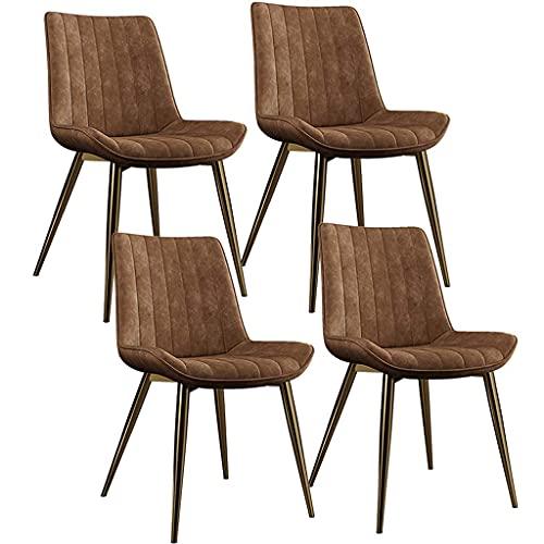 N&O Renovation House Leder Esszimmerstuhl mit Metallbeinen Hohe Rückenlehne Küche Esszimmer Wohnzimmermöbel Bequem gepolstert gepolsterter PU-Sitz Retro-Design (Farbe E Größe 1)