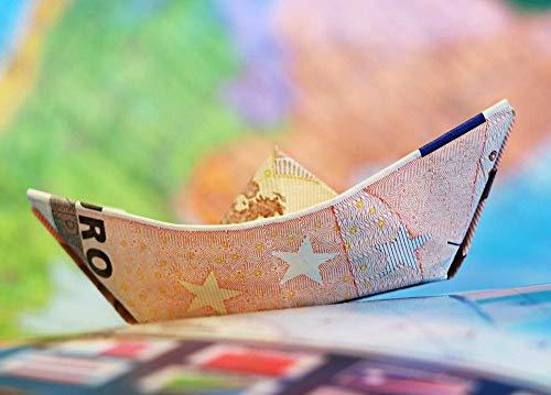 Puzzle De Madera Clásico Decoración Euro Barco Dinero Velero Mapa Origami Finanzas Rompecabezas de madera-1000 piezas