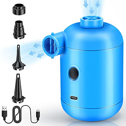 Lenski 2 in 1 Elektrische Luftpumpe Power Pump, Elektrische Luftpumpen, Inflate und Deflate Luftpumpe Elektrisch Pumpe mit 4 Luftdüse für Aufblasbare Kissen, Schwimmring