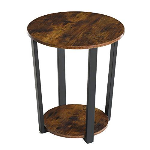 IBUYKE Tavolino Rotondo Vintage, tavolino in Design Industriale, Struttura Semplice, Divano con Struttura in Ferro, Tavolo da Salotto, Camera da Letto, Facile da Montare TMJ020H