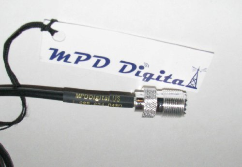 MPD Digital 50 Ohm RG58 HAM RF Coaxial Extension Hand-Held Portabe Cable with Right Angle SMA Male to UHF SO239 Female, 10 FT