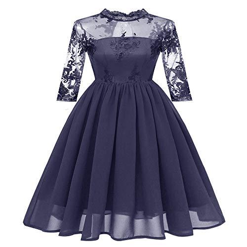 Subink Fashion Luxury Hollow Embroidered Cropped Chiffon Damen Brautjungfer Abendkleid, Damen Spitzenkleid