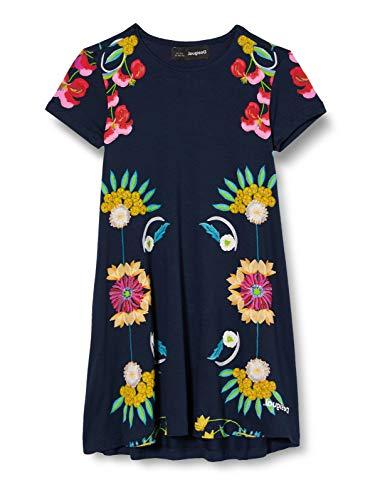 Desigual Mädchen Vest_Florecillas Kleid, Blau (Navy 5000), 140 (Herstellergröße:9/10)
