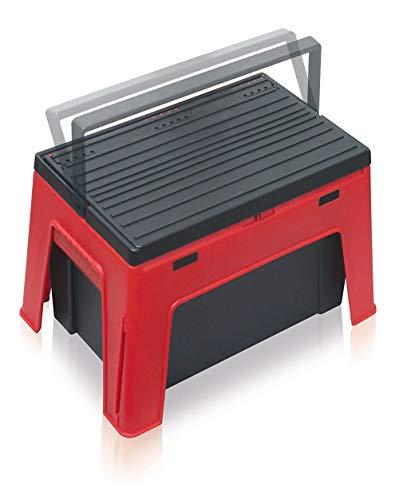 Smarty - Taburete 2 en 1 con caja de herramientas, altura 30 cm, capacidad de carga 150 kg, material: polipropileno, para interior y exterior