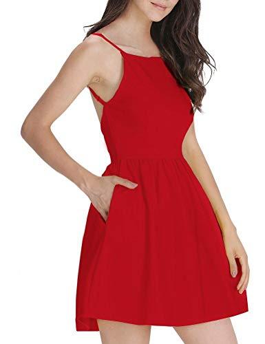 FANCYINN Damen Sommerkleid Armellos Spaghetti-Armband Kleider Elegant Rückenfreies Kurze Kleid Minikleid Rot-S(34-36)