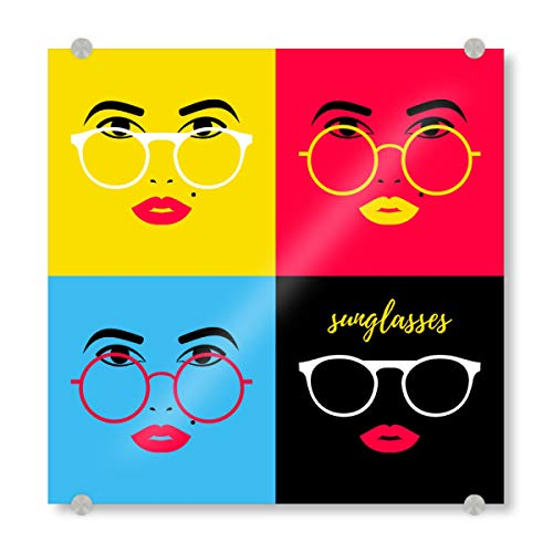 artboxONE Acrylglasbild 20x20 cm Comic Sunglasses for The Lady Bild hinter Acrylglas - Bild Frau Aussehen blau