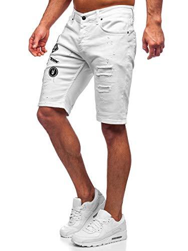 BOLF Hombre Pantalón Corto Vaquero Pantalones Vaqueros Denim Shorts Pantalón de Algodón Cargo Estilo Diario RWX 3029-1 Blanco S [7G7]