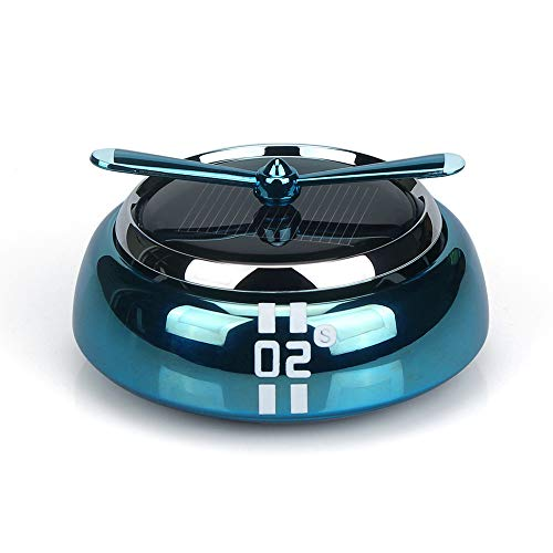QBUC Car Air Freshener Solar Energy Rotating Cologne Car Aromatherapy Diffuser Interior Decoration Accessories Essential Oil Diffuser for Car Home(Blue)